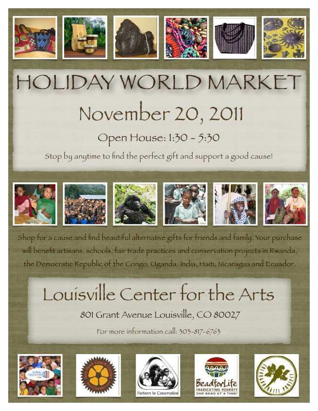 a flyer reads: holiday world market, nov 20, 2011
