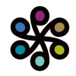 the old philanthropiece logo with six circles of all colors of the rainbow connected like a wheel