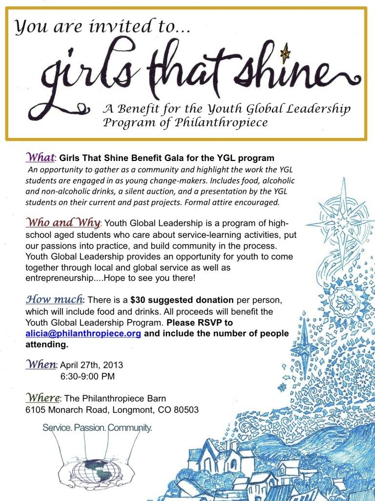 "An information poster entitled ""you're invited to...girls that shine,"" a benefit for the Youth Global Leadership Program"