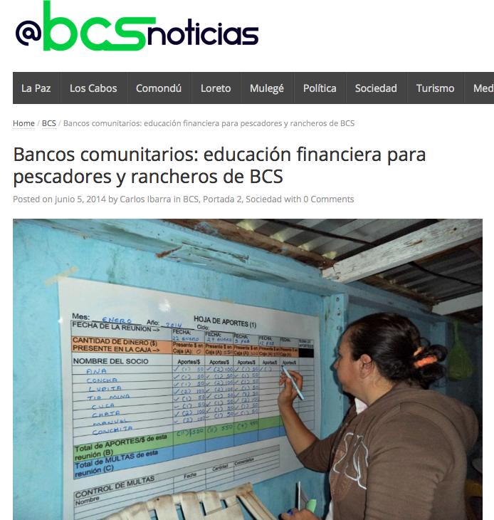 """A screenshot of the BCS Noticias website featuring an article entitled """"Bancos comunitarios: educación financiera para pescadores y rancheros de BCS."""""""