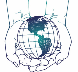 The YGL logo: a pair of sketched hands holding a globe.