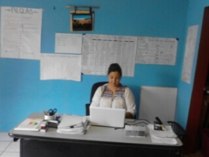 An angled photo of a woman at a desk in front of a bright blue wall. She is looking at her laptop, and big charts are posted on the wall behind her.