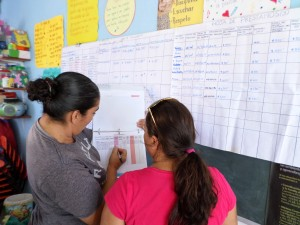 Two women are shown from behind in front of a long chart posted on a wall. They are pointing at something in a three-ring binder and conversing.