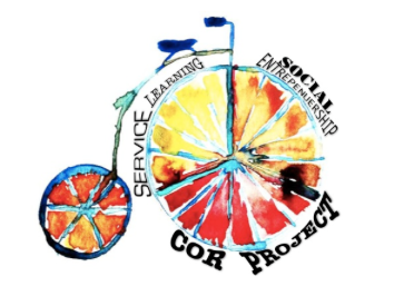 "A watercolor bicycle. Around the front wheel are the phrases ""Social Entrepreneurship,"" ""Cor Project,"" and ""Service Learning."""
