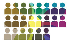 Three rows of rainbow-colored vector people