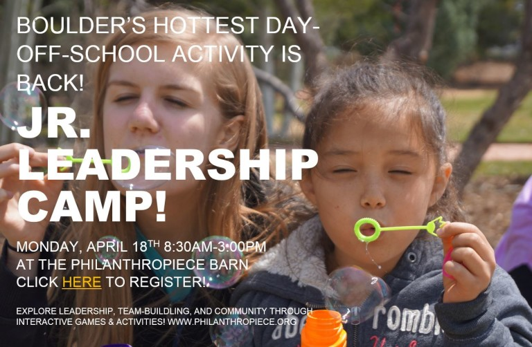 A flyer for the Jr. Leadership camp shows white text on a photo of a teenager and child blowing bubbles together.
