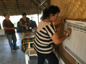 Three people are shown under the thatched roof of a shelter. The one closest to us is using an expo marker to write information on a chart on the wall.