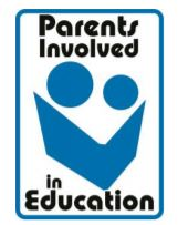 The Parents Involved in Education logo, featuring a large and small blue circle (presumably the heads of a child and parent) above a blue book