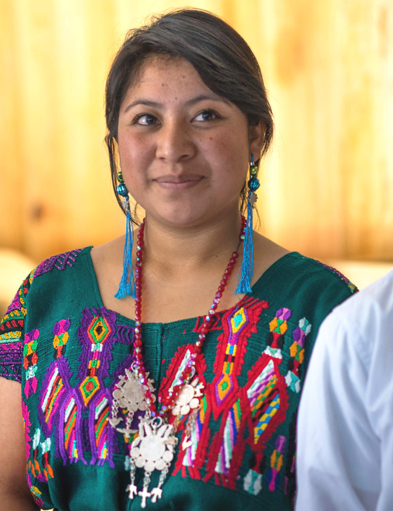 a candid of karen shows her in front of a wood-paneled wall smiling slightly into the distance. She is wearing blue tassel earrings, a beaded necklace with a large silver pendant, and a colorfully-embroidered blouse.