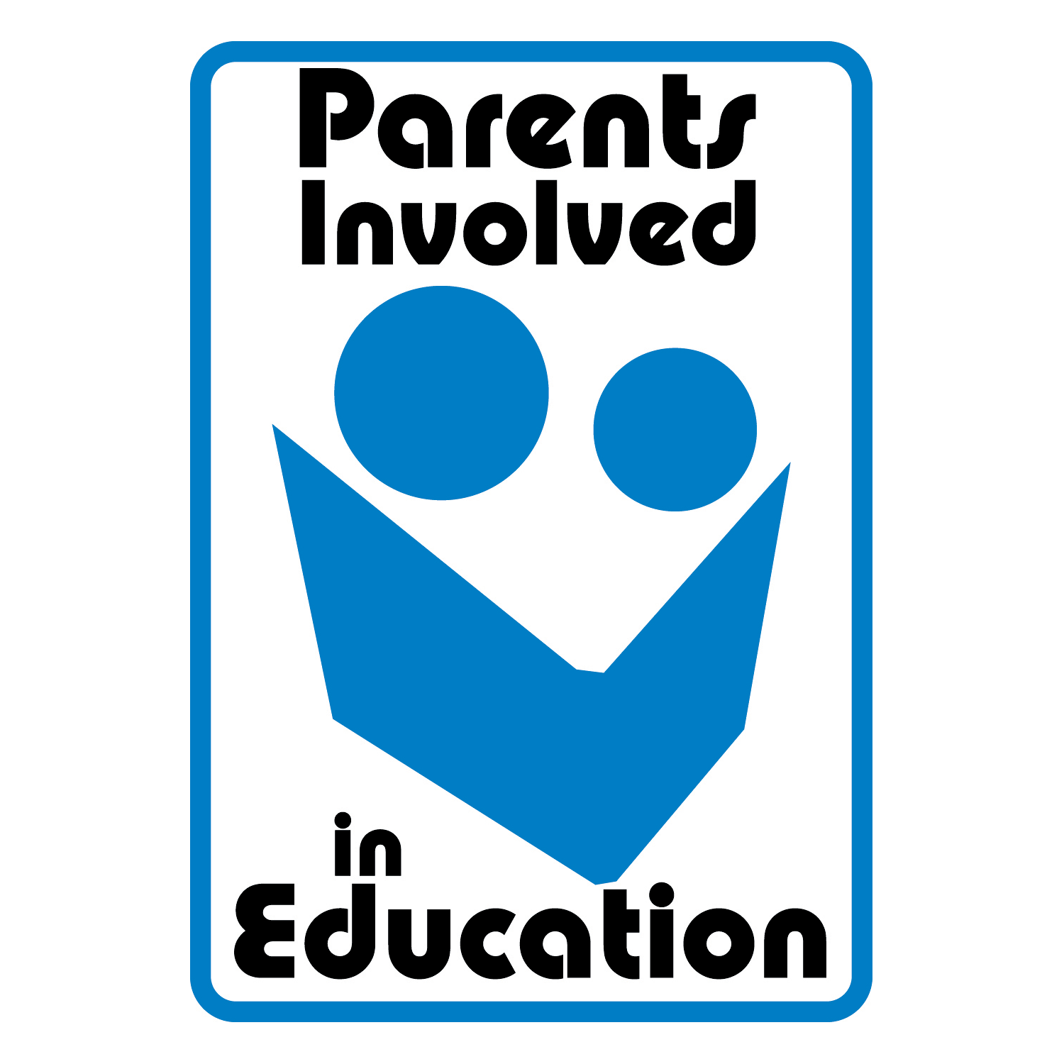 the PIE logo: two blue circles over a blue polygon representing a parent and a child reading a book