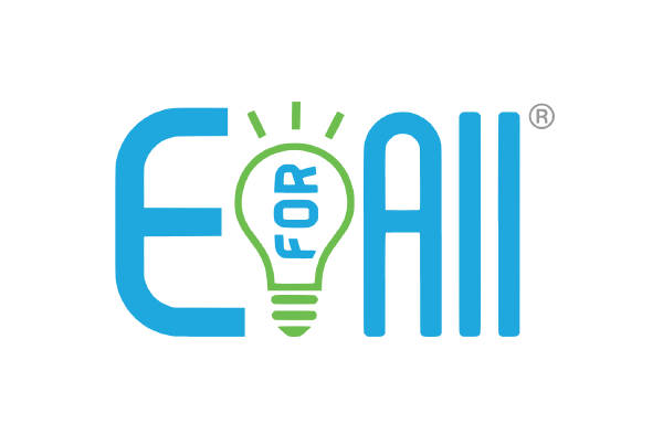 """The entrepreneurship for all logo features a blue """"e"""" and """"all"""" with a green lightbulb between them."""