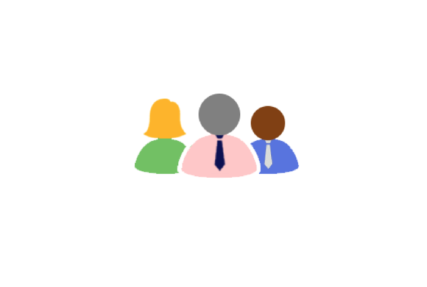 A vector illustration of three people of different races.