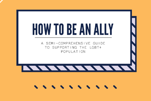 """Navy next on a white background reads """"How to be an ally."""""""