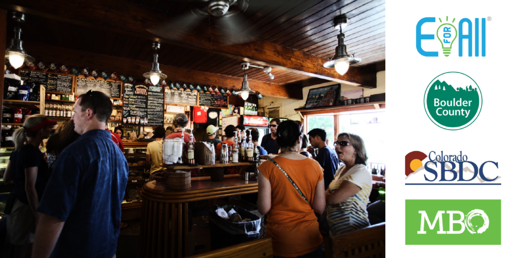 A picture of a small cafe interior is accompanied by four logos from the resources below.