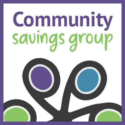 """part of philanthropiece's colorful wheel logo with the words """"community savings group"""""""