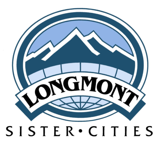 The Longmont Sister Cities logo features a white banner stretched across a blue circle filled with vector mountains.