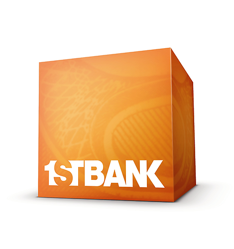 the first bank logo pictures their wordmark on an elaborately shaded orange cube