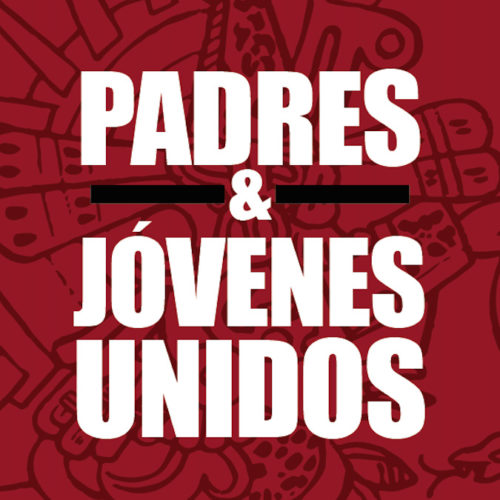 The Padres y Jóvenes Logo features bold white text on a red background.
