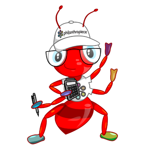 the Philanthropiece AC mascot: a red in in a white t-shirt and hat, calculator in hand
