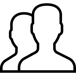 a black outline of two heads.